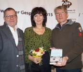 Helmut Zeller, Eva Gruberová, Mirko Schwanitz, von links.