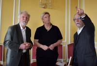 Professor Gerhard Glaser, Kerstin Noack und Martin Schmidt bei einem Rundgang im Schloss Hoyerserda nach der Sanierung in den Jahren 2017/2018