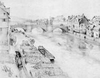 Die Fulda in Kassel von Adolph Menzel 1847, Ausschnitt