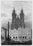 Die Mariensäule in Prag am Altstädter Ring, Stahlstich nach einer Zeichnung von Adrian Ludwig Richter