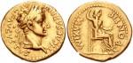 Römische Münze mit den Bildern von Tiberius und Livia