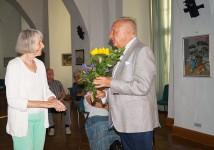 Rudolf Renner gilt der Dank der Zuhörer für einen Vortrag zu Max Slevogt beim Hoyerswerdaer Kunstverein, Juli 2020